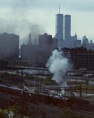 WTC 195 (stevensiegel260) Tags: steamtrain hoboken worldtradecenter twintowers 1990s excursiontrain steamlocomotive newyork newjersey newyorkskyline manhattanskyline