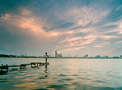 Ho Tay (Nam Vu Ha) Tags: ha noi viet nam june 2016 pentax645n smc a 35mm ektar 100 ho tay landscape analog film sunset fishing noritsu hs 1800