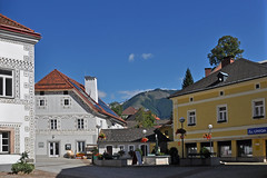 A place in Eisenerz (Vestaligo - Vacation with Internet connection) Tags: blue sky mountain architecture geotagged austria town sterreich marketplace steiermark styria ironore eisenerz mygearandme