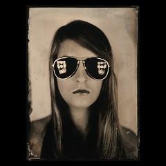 . (czarnobialykwadrat!) Tags: portrait woman wet glasses plate ambrotype wetplate 5x7 collodion 13x18 dogmar ambrotyp kolodion