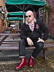 Dr Marten 1460 Cherry red boot. (CWhatPhotos) Tags: pictures city original england house men love feet me beer up leather yellow garden that cherry table outside rouge foot photo pub mine sitting foto durham with hole photos lace dr air picture olympus wear have doctor footwear fotos mens stitching comfort pint doc cushion marten which soles docs laces contain lager drmartens bouncing airwair docmartens martens dms laced 1460 drmarten puplic cushioned wair bouncingsoles 1460s yellowstitching epl1 cwhatphotos