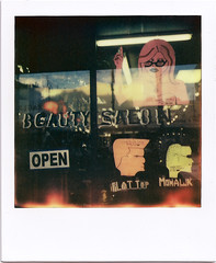 Mission street Beauty Salon (Polaroid SF) Tags: sanfrancisco polaroid sx70 mohawk mission flattop beautysalon impossibleproject