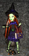Monster High Witch Majika Spellman and her cat Pumpkin (custombase) Tags: hat monster cat high doll dress witch create custom monsterhigh