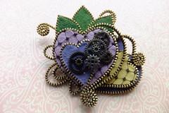 Heart Steampunk Brooch (MsLolaCreates) Tags: leaves yellow beads pin purple heart brooch craft felt button zipper steampunk millinery mslolacreates