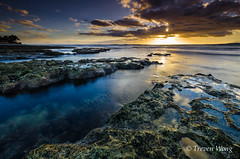(Treven Wong) Tags: blue sunset sea sky sun beach water sunrise hawaii nikon rocks long exposure oahu wide beaches reef 1024 waianae d7000 dailynaturetnc12
