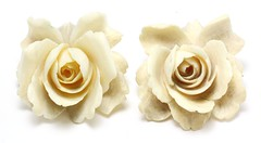 1000. Pair of Exquisite Carved Ivory Rose Brooches