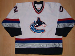 Vancouver Canucks 2002 - 2003 home Game Worn Jersey (kirusgamewornjerseys) Tags: canada game hockey nhl worn jersey gameworn gamewornjersey