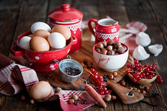 Baking with chocolate (The Little Squirrel) Tags: red food photography baking chocolate ingredients eggs hazelnuts foodphotography nikond700