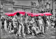 Launch of Poppy Campaign, Grey's Monument, Eldon Square, Newcastle Upon Tyne (robin denton) Tags: red people blackandwhite bw rain newcastle blackwhite sitting sit poppy remembrance eldonsquare seated umberella hdr newcastleupontyne geordies peoplesitting theroyalbritishlegion bwhdr peopleseated poppycampaign