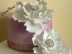 Fantasy Flower Wedding Cake 1 (Scrummy Mummy's Cakes) Tags: white weddingcake twotier fantasyflower pearlpink jeweltrim