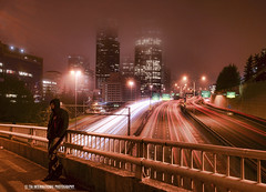 Foggy Recollection (TIA International Photography) Tags: seattle county street city light urban cloud man reflection building tree guy tower weather fog skyscraper tia landscape concrete person washington office highway stream downtown king cityscape traffic martin motorway pacific northwest cloudy pavement 5 dream foggy overpass overcast columbia dude neighborhood trail rush transportation memory freeway commute sound fade interstate recall puget municipal tosin recollection luther distant individual dense arasi tiascapes tiainternationalphotography