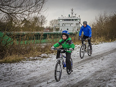 323_1648_20-01-13 (homewurks) Tags: road winter boy white snow bike john manchester photography cycling boat canal warrington eyes track dad ship child ride cheshire crash snowy father helmet bikes son riding photograph cycle biking hopkins cycles woolston homewurks