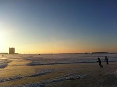Fun on the ice. (Dogo-Argentino) Tags: winter sunset sun snow ice nature water frozen scenery sneeuw natuur ijs weer binnenschelde uploaded:by=flickrmobile flickriosapp:filter=nofilter