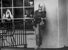 Conflict of Emotions (darren.cowley) Tags: conflicting emotions streetphoto joy despair candid darrencowley canon5d urbanscene monochrome blackandwhite caffeine coffee conversation