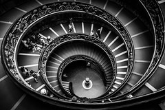Spiral Staircase (King Grecko) Tags: 5dmk3 architecture bw bwrotunda black blackandwhite building canon canoneos5dmk3 contrast geometric italy lightroom pattern photoborder rim rome shape spiral staircase symmetry texture tire travel traveldestinations vatican
