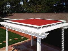 Red Retractable Trellis Cover (ersshading) Tags: pergola arbor trellis awning awnings backyard shading shade retractable