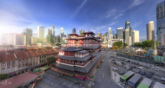 The Buddha Aura (Andy Ting) Tags: aura buddharelictemple chinatown singapore sigma f14 d750 landscape temple culture sun ray buddha street building nikon cityscape urban 20mm primelens hdr panorama festival sky blue flare day evening land scape