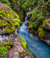 Avalanche Gorge (Paul Domsten) Tags: glaciernationalpark water pentax avalanchegorge avalanche stream creek river waterfall landscape montana beauty serene rocks nationalparks sigma lush green garden outdoor