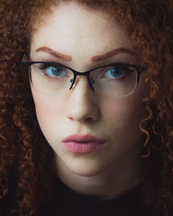 Delaney (rhn3photo) Tags: 2016 august delaney redhead ginger blueeyes portrait studio indoor curls woman girl curly lass people glasses nerd nerdy filmic matte clubmaster
