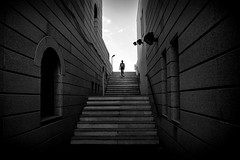 the way back (s@brina) Tags: stairs geometries person girl blackandwhitemonochrome city