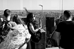 Top Of The Rock Selfie People 2 (andyfpp) Tags: fuji fujifilm x100t newyork nyc newyorkcity blackandwhite bw bwred mono monochrome monotone selfie stick iphone rock topoftherock shadows rockefeller