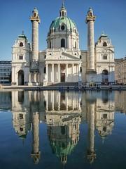 Karlskirche - Vienna series lV (And Hei) Tags: wien vienna karlsplatz karlskirche reflections reflektionen water architecture architektur kirche buildings street austria sterreich