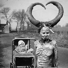 Afternoon Stroll (Flamenco Sun) Tags: creepy odd disturbing bizarre weird horror witchdoctor shaman b lane retro stroller stroll baby