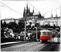 Prague Castle and old tram - selective colour (dragonroy) Tags: prague selectivecolour bw mono czechrepublic castle royfrankland photography fineart tram transport