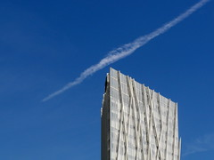 barcelona jet trail (kexi) Tags: architecture sky white blue modern samsung wb690 september 2015 spain europe catalonia instantfave minimalism jettrail simple
