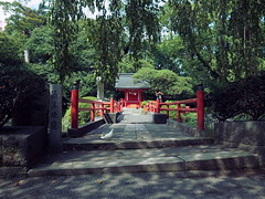 Mishima Taisha Shrine  (: : Ys [waiz] : :) Tags: grd grd4 ricoh   shizuoka shrine  japan  green red symmetry  bridge forest  religion tree bird