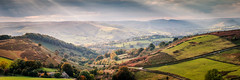 Hathersage and Hope (explored) (Dave Fieldhouse Photography) Tags: thegreatridge mamtor backtor hopevalley hope hathersage hathersagemoor castleton panorama stitchedpanorama 31 peakdistrict derbyshire derbyshirelife nationalpark autumn lateafternoon lightrays sky overcast trees village canon5dmarkiii canon5dmark3 hill