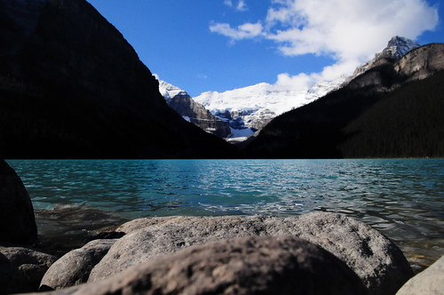 Laying on the rocks - Lake Louise