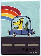 ONYN-00547 (ONYN Paintings) Tags: road original urban dog get london art car modern illustration race vintage shopping painting drive rainbow paint artist folkart graphic sale outsider contemporary wallart pop give canvas fantasy buy present collect whimsical eastlondon onyn wwwonyncom onyncom