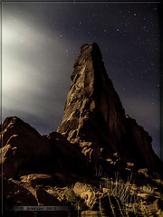 Tower of Babel reworked (Just Used Pixels) Tags: longexposure night clouds stars landscape scenic arches moonlit slowshutter moonlight archesnationalpark towerofbabel moabutaharea