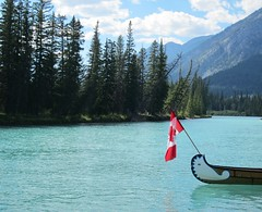 Liberty to Explore ... (Mr. Happy Face - Peace :)) Tags: alberta canada westerncanada canadalandscape sky banff art2016 canoe hss nature rockies yyc soul tribute patricia bechthold bowriver rockymountains hbm