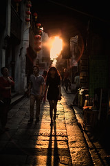 the red red sun (~mimo~) Tags: china street shadow red people woman sun silhouette circle walking solar alley couple glare shanghai flare backlit lantern cliche contrejour odc hcs