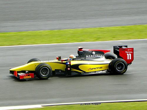 Romain Grosjean in his DAMS GP2 car at the 2011 British Grand Prix at Silverstone