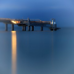 In Blau (dubdream) Tags: ocean longexposure blue sea seascape water night germany landscape pier nikon balticsea ostsee schleswigholstein d800 seebrcke heiligenhafen colorimage dubdream seebrckeheiligenhafen