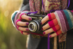 Capturing Autumn (Vemsteroo) Tags: camera autumn cold colour fall film girl scarf 35mm canon vintage creativity person cool holding hands women bokeh painted creative hipster happiness 100mm retro nails gloves analogue f28 enjoyment autumnal oneperson hobbie mkiii mk3 realpeople