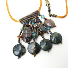 Brown and Green Jasper Necklace on Gold Satin Cord (Sylvia Windhurst) Tags: earthtones beadednecklace peyotestitch naturalmaterials satincord gemstonechoker gemstonefringe
