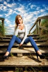 Marie_High_Heel_Remix (dubdream) Tags: wood portrait sky people woman cloud beach girl beautiful grass female germany nikon highheels explore beautifulwoman schleswigholstein d800 heiligenhafen colorimage beachentrance strobistinfo dubdream