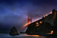 BLU JAZZA  **EXPLORE** (Andrew Louie Photography) Tags: bridge blue fog golden gate jazz hour jazza