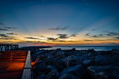 Pre-dawn Jetty (Ed Rosack) Tags: ocean usa beach water sunrise landscape dawn pier dock unitedstates florida jetty shore capecanaveral cocoa centralflorida jettypark architectureandbuildings