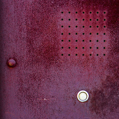 Buzz me in, Scotty (MyArtistSoul) Tags: red white abstract square losangeles rust downtown pattern head magenta holes minimal bolt button scratch intercom artsdistrict zeni 0695 24105mmf4
