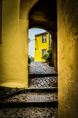 Passage way (Brian Xavier) Tags: portugal sintra steps arches narrowway passageway cobblestoneroad lightattheend bxphoto wellwornstones
