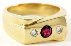 1060. Ruby and Diamond Crossover Style Ring
