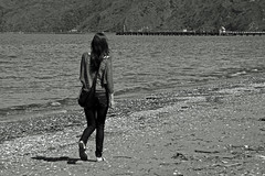 Girl walking on beach (Flimin) Tags: blackandwhite beach girl canon petone gamewinner 650d challengeyouwinner eos650d friendlychallenges thechallengefactory pregamewinner rebelt4i