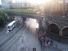 Dart is coming (Davide Brat) Tags: street city morning ireland people urban dublin train europa day tag rail eire treno dart dub matin mattina giorno rurope