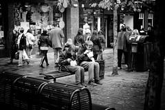 Eat (stephen cosh) Tags: life street city people blackandwhite bw sepia mono scotland town glasgow candid streetphotography rangefinder reallife humancondition blackandwhitephotos 50mmsummilux blackwhitephotos leicam9 stephencosh leicammonochrom leicamm