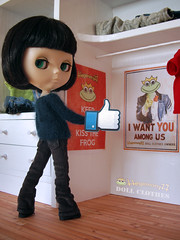 Blythe doll with Facebook Like foam hand in flared corduroy pants and hand knitted mohair sweater